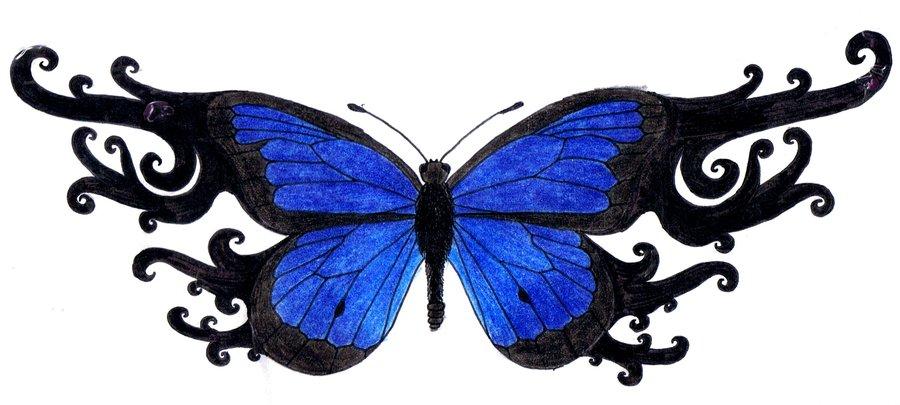 """f77d2d6b53393 blue_butterfly_tattoo_by_3mMmMmA. """""""