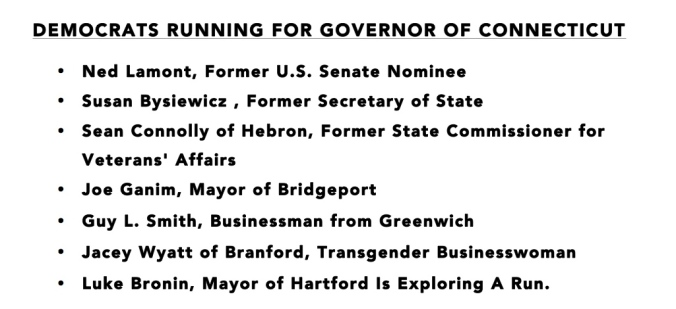 DEMOCRATS RUNNING FOR GOVERNOR OF CONNECTICUT